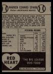 1954 Red Heart  Warren Spahn  Back Thumbnail
