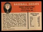 1961 Fleer #70  Sam Rice  Back Thumbnail