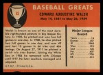 1961 Fleer #83  Ed Walsh  Back Thumbnail
