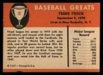 1961 Fleer #30  Frankie Frisch   Back Thumbnail