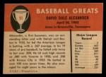 1961 Fleer #91  Dale Alexander  Back Thumbnail
