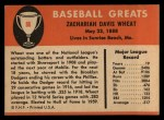 1961 Fleer #86  Zach Wheat  Back Thumbnail