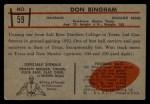 1953 Bowman #59  Don Bingham  Back Thumbnail