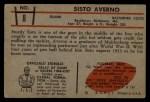 1953 Bowman #8  Sisto Averno  Back Thumbnail