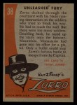 1958 Topps Zorro #38   Unleashed Fury Back Thumbnail