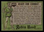 1957 Topps Robin Hood #43   Ready For Combat Back Thumbnail