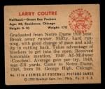 1950 Bowman #47  Larry Courtre  Back Thumbnail
