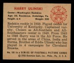 1950 Bowman #101  Harry Ulinski  Back Thumbnail