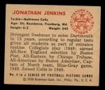 1950 Bowman #4  Jonathan Jenkins  Back Thumbnail