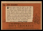 1956 Topps Davy Crockett #26   On Guard  Back Thumbnail