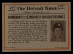 1972 Topps #432   -  Cito Gaston In Action Back Thumbnail