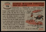 1956 Topps #79  Bill Forester  Back Thumbnail
