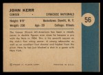 1961 Fleer #56   -  John Kerr In Action Back Thumbnail
