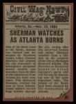 1962 Topps Civil War News #80   City in Flames Back Thumbnail