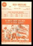 1963 Topps #16  Rich Kreitling  Back Thumbnail