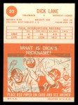1963 Topps #32  Dick Lane  Back Thumbnail