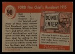 1954 Topps World on Wheels #90   Ford Fire Chief's Runabout 1915 Back Thumbnail