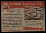 1954 Topps World on Wheels #152   Oldsmobile Defender Coupe 1912 Back Thumbnail
