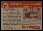 1954 Topps World on Wheels #77   Northern Rear Entrance Touring 1904 Back Thumbnail