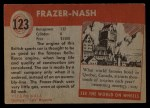 1954 Topps World on Wheels #123   Frazer-Nash Back Thumbnail