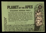 1969 Topps Planet of the Apes #9   Stalking Human Prey Back Thumbnail