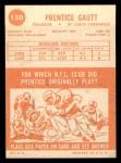1963 Topps #150  Prentice Gautt  Back Thumbnail
