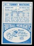 1968 Topps #182  Tom Watkins  Back Thumbnail