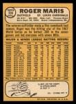 1968 Topps #330  Roger Maris  Back Thumbnail