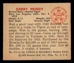 1950 Bowman #212  Jerry Priddy  Back Thumbnail
