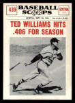 1961 Nu-Card Scoops #439   -   Ted Williams Hits .406 for Season Front Thumbnail