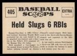 1961 Nu-Card Scoops #405   -  Woodie Held Woodie Held Slugs 2 Homers, 6 RBI's Back Thumbnail
