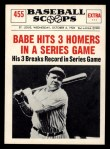 1961 Nu-Card Scoops #455   -   Babe Ruth Hits 3 Homers In A Series Game Front Thumbnail