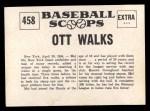 1961 Nu-Card Scoops #458   -   Mel Ott  Walks 5 Times in a Single Game Back Thumbnail