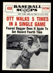1961 Nu-Card Scoops #458   -   Mel Ott  Walks 5 Times in a Single Game Front Thumbnail