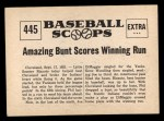 1961 Nu-Card Scoops #445   -   Phil Rizzuto  2 Runs Save 1st Place for NY Yankees Back Thumbnail