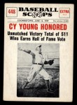 1961 Nu-Card Scoops #448   -   Cy Young  Honored Front Thumbnail