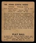 1940 Play Ball #108  Johnny Rizzo  Back Thumbnail