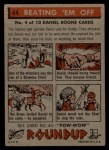 1956 Topps Round Up #44   -  Daniel Boone Beating em Off Back Thumbnail