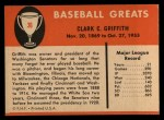 1961 Fleer #36  Clark Griffith  Back Thumbnail