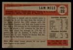 1954 Bowman #22 ALL Sam Mele  Back Thumbnail