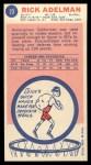 1969 Topps #23  Rick Adelman  Back Thumbnail