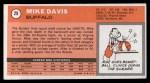 1970 Topps #29  Mike Davis   Back Thumbnail