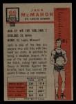 1957 Topps #66  Jack McMahon  Back Thumbnail