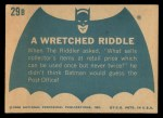 1966 Topps Batman Blue Bat Back #29   Wretched Riddle Back Thumbnail