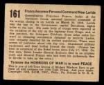 1938 Gum Inc. Horrors of War #161   Franco Assumes Personal Command Near Lerida Back Thumbnail