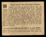 1938 Gum Inc. Horrors of War #88   Human Hands Warn Newspaper Publishers Back Thumbnail