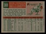 1959 Topps #369  Dick Tomanek  Back Thumbnail