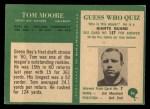 1966 Philadelphia #86  Tom Moore  Back Thumbnail