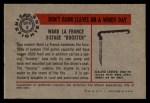 1953 Bowman Firefighters #9   Ward La France 3-Stage Booster Back Thumbnail