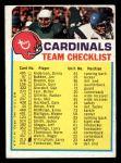 1973 Topps  Checklist   -     Cardinals Front Thumbnail